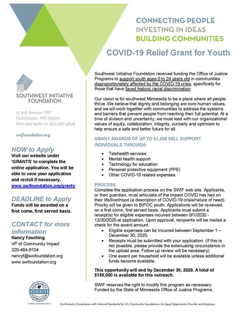 COVID-19 Relief Grant for Youth