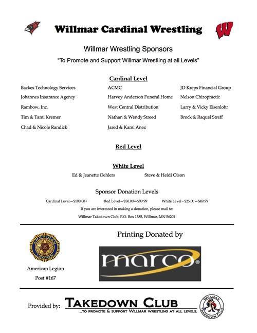 Wrestling Sponsorship Program